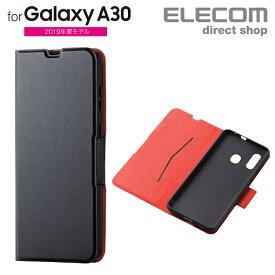 エレコム Galaxy A30 用 ソフトレザーケース 薄型 磁石付 ギャラクシー エーサーティ SCV43 カバー ブラック スマホケース PM-GSA30PLFUBK