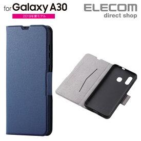 エレコム Galaxy A30 用 ソフトレザーケース 薄型 磁石付 ギャラクシー エーサーティ SCV43 カバー ネイビー スマホケース PM-GSA30PLFUNV