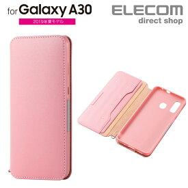 エレコム Galaxy A30 用 ソフトレザーケース 磁石付 スマホ ギャラクシー A30 ソフトレザー ケース カバー ピンク スマホケース PM-GSA30PLFY2PN