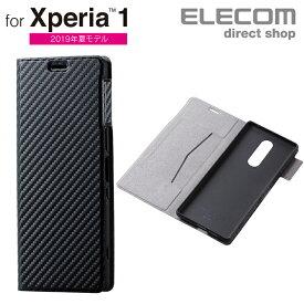 エレコム Xperia 1 用 ソフトレザーケース 薄型 磁石付 手帳型 スマホ エクスペリア1 ソフトレザー ケース カバー 磁石付 カーボン調(ブラック) スマホケース PM-X1PLFUCB