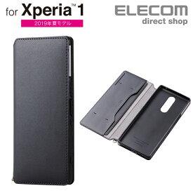 エレコム Xperia 1 用 エクスペリア1 Xperia1 ソフトレザーケース 磁石付 ソフトレザー ケース カバー ブラック スマホケース PM-X1PLFY2BK