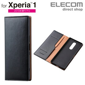 エレコム Xperia 1 用 ソフトレザーケース イタリアン Coronet 手帳型 スマホ エクスペリア1 ソフトレザー ケース カバー ネロ スマホケース PM-X1PLFYILBK