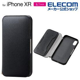 エレコム iPhone XR 用 ソフトレザーケース 磁石付 ケース カバー iphone アイフォン iphonexr スマホケース iPhoneXR 手帳 シンプル 手帳型 ブラック PM-A18CPLFY2BK
