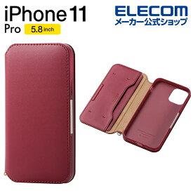 エレコム iPhone 11 Pro 用 ソフトレザーケース 磁石付 ケース カバー iphone5.8 iPhone11 Pro iPhone11Pro 新型 iPhone2019 5.8インチ 5.8 スマホケース 手帳 ソフト レザー シンプル ソフトレザー 手帳型 レッド PM-A19BPLFY2RD