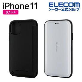 エレコム iPhone 11 用 TOUGH SLIM シェルフラップ ケース カバー iphone6.1 iPhone11 アイフォン 11 新型 iPhone2019 6.1インチ 6.1 スマホケース タフスリム シンプル エアクッション 衝撃 吸収 フラップタイプ ホワイト PM-A19CTSSWH