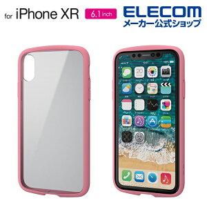 エレコム iPhone XR 用 TOUGH SLIM LITE フレームカラー ケース カバー iphone アイフォン iphonexr スマホケース タフスリム シンプル TPU素材 高硬度8H ポリカーボネート ピンク PM-A18CTSLFCPN