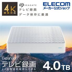 エレコム 3.5インチHDD MY 4TB 4K 録画対応 テレビ TV 録画 ハードディスク 外付けHDD hdd 外付けハードディスク USB3.2 Gen1 4TB Seagate New Expansion MYシリーズ ホワイト SGD-MY040UWH