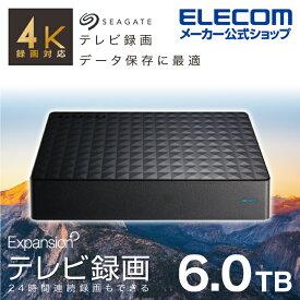 エレコム 3.5インチHDD MY 6TB 4K 録画対応 テレビ TV 録画 ハードディスク 外付けHDD hdd 外付けハードディスク USB3.2 Gen1 6TB Seagate New Expansion MYシリーズ ブラック SGD-MY060UBK