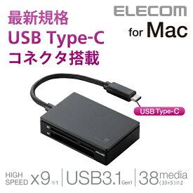 エレコム メモリリーダライタ USB Type-Cコネクタ搭載 38メディア対応 (SD+MS+CF+XD) ブラック MR3C-AP010BK