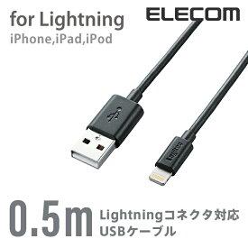 ロジテック Lightningケーブル Apple認証品 50cm ブラック LHC-UAL05BK