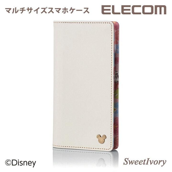 エレコム マルチサイズ対応 スマホケース ソフトレザーカバー 手帳型 ディズニー Disney ミニーマウス 総柄 ストラップホール付 スウィート・アイボリー P-02PLFDNYCWH