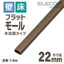 エレコム フラットモール 壁/床用 ケーブルカバー 木目調 ブラウン 1m 幅22mm LD-GAF2/WD