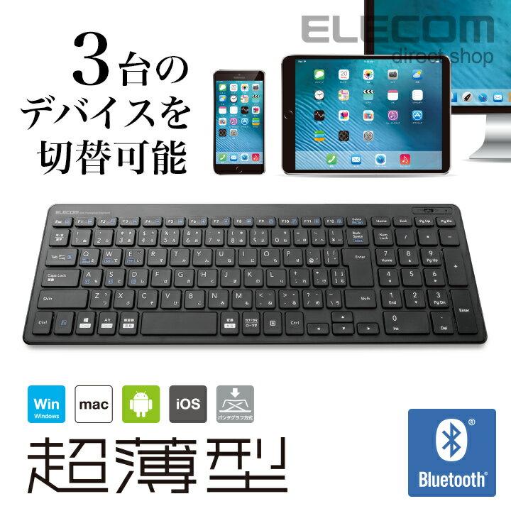 エレコム ワイヤレスフルキーボード 軽量×超薄型 Bluetooth ブラック TK-FBP101BK