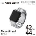 エレコム Apple Watch 42mm 44mm用 プレミアムステンレスバンド アップルウォッチ 時計 交換バンド ベル シルバー AW-42BDSS3SV