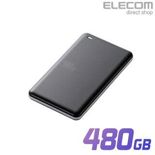 エレコム外付けポータブルSSD耐衝撃USB3.1Gen1対応高速超軽量480GBブラック
