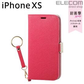 エレコム iPhone XS ケース 手帳型 Cherie ソフトレザーカバー レディース 磁石付き ストラップ付き ディープピンク スマホケース iphoneケース PM-A18BPLFJPND