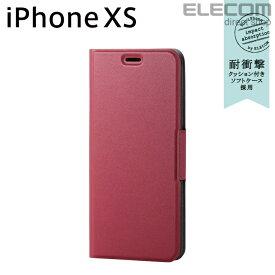 エレコム iPhone XS ケース 手帳型 UltraSlim スリムソフトレザーカバー 磁石付き レッド スマホケース iphoneケース PM-A18BPLFURD
