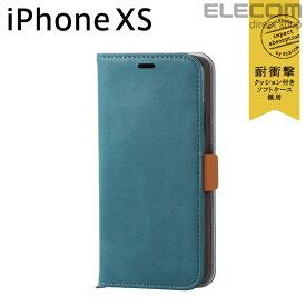 エレコム iPhone XS ケース 手帳型 Vluno ソフトレザーカバー 磁石付き エメラルドグリーン スマホケース iphoneケース PM-A18BPLFYGNL