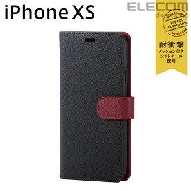 エレコム iPhone XS ケース 手帳型 Vluno サフィアーノ調ソフトレザーカバー スナップ付き ブラック×レッド スマホケース iphoneケース PM-A18BPLFYSBK2