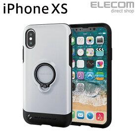 エレコム iPhone XS ケース 耐衝撃 TOUGH SLIM フィンガーリング付き ホワイト スマホケース iphoneケース PM-A18BTSRWH