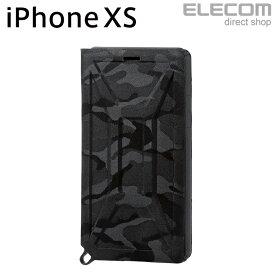 エレコム iPhone XS ケース 耐衝撃 ZEROSHOCK フラップ付き カモフラ ブラック PM-A18BZEROFT1