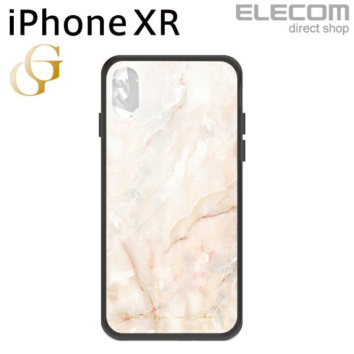 エレコム iPhone XR ケース ガラスケース GRAN GLASS レディース ストーン ピンク PM-A18CHVCG5T3