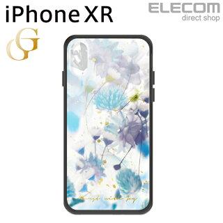 エレコムiPhoneXRケースガラスケースGRANGLASSレディースハーバリウムブルー