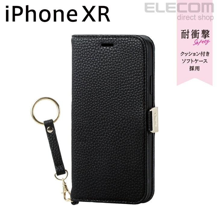 エレコム iPhone XR ケース 手帳型 手帳 Cherie ソフトレザーカバー レディース 磁石付き ストラップ付き ブラック PM-A18CPLFJBK