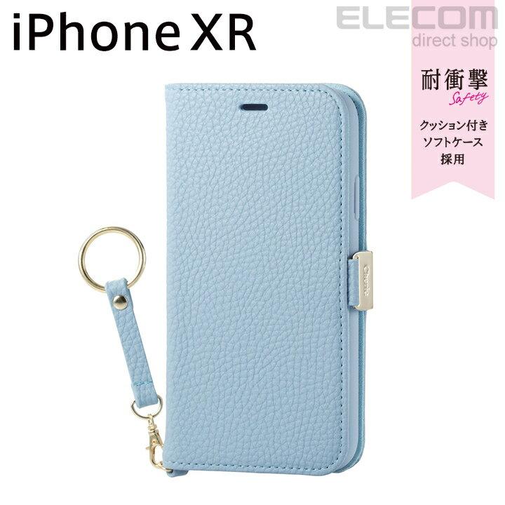 エレコム iPhone XR ケース 手帳型 手帳 Cherie ソフトレザーカバー レディース 磁石付き ストラップ付き ブルー PM-A18CPLFJBU