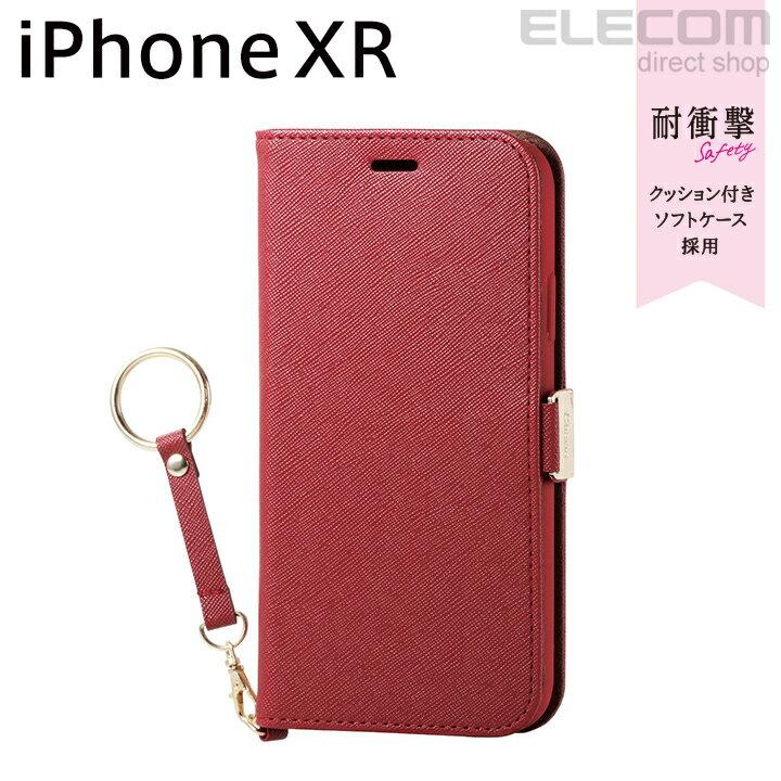 エレコム iPhone XR ケース 手帳型 手帳 Cherie ソフトレザーカバー レディース 磁石付き ストラップ付き レッド PM-A18CPLFJRD