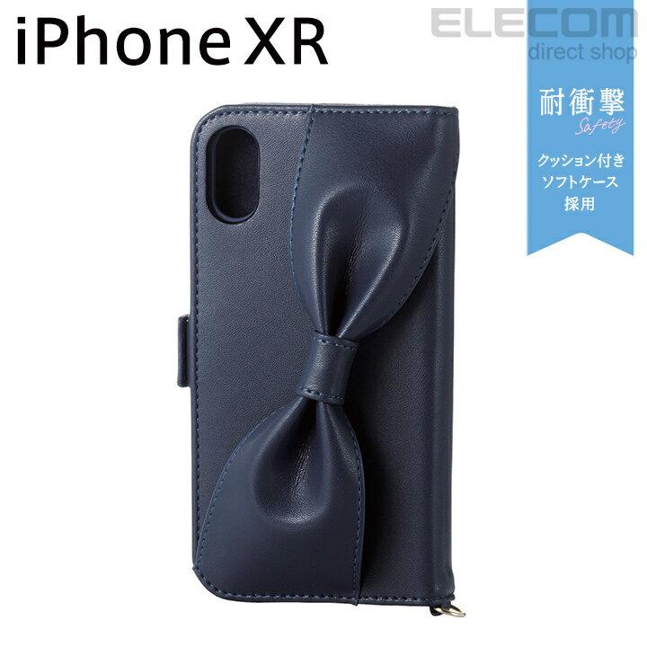エレコム iPhone XR ケース 手帳型 手帳 Cherie ソフトレザーカバー レディース ハンドホールドリボン付き ネイビー PM-A18CPLFRBNV