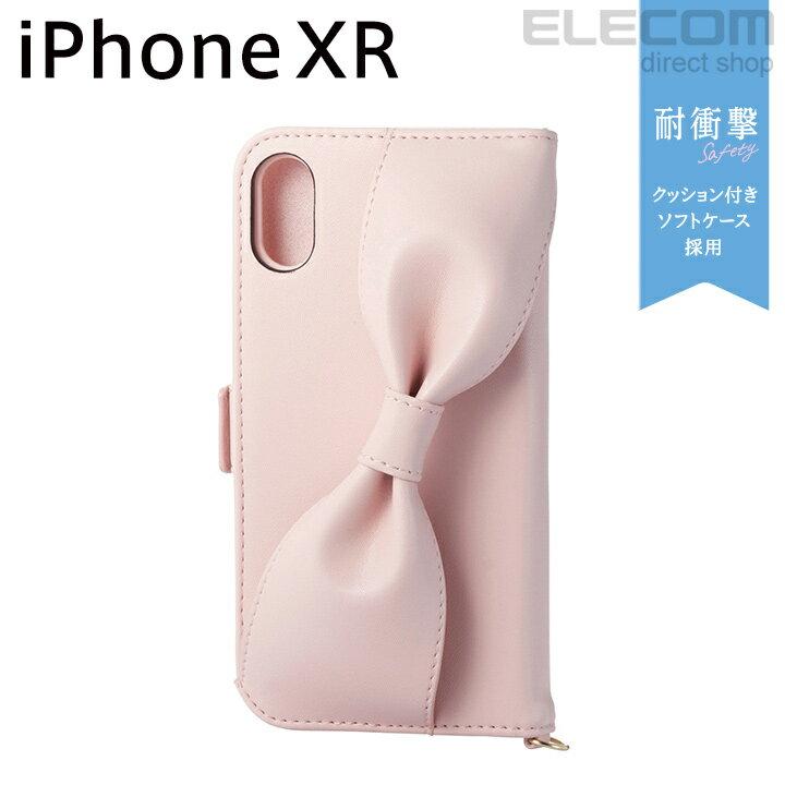 エレコム iPhone XR ケース 手帳型 手帳 Cherie ソフトレザーカバー レディース ハンドホールドリボン付き ピンク PM-A18CPLFRBPN
