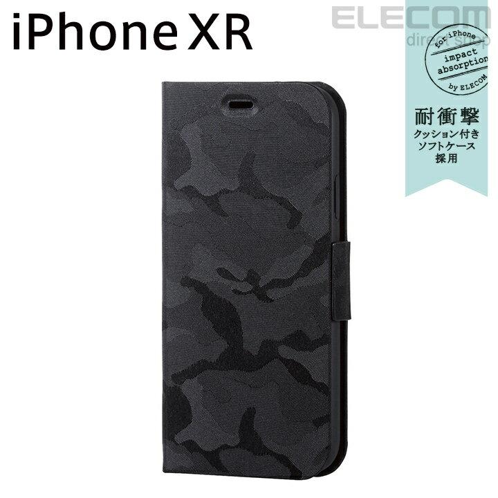 エレコム iPhone XR ケース 手帳型 手帳 UltraSlim スリムファブリックカバー カモフラ ブラック PM-A18CPLFUCFBK