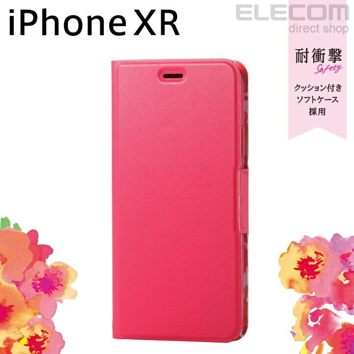 エレコム iPhone XR ケース 手帳型 手帳 UltraSlim スリムソフトレザーカバー レディース 磁石付き ディープピンク PM-A18CPLFUJPND