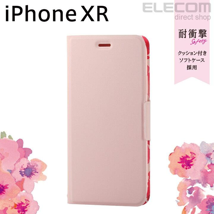 エレコム iPhone XR ケース 手帳型 手帳 UltraSlim スリムソフトレザーカバー レディース 磁石付き ライトピンク PM-A18CPLFUJPNL