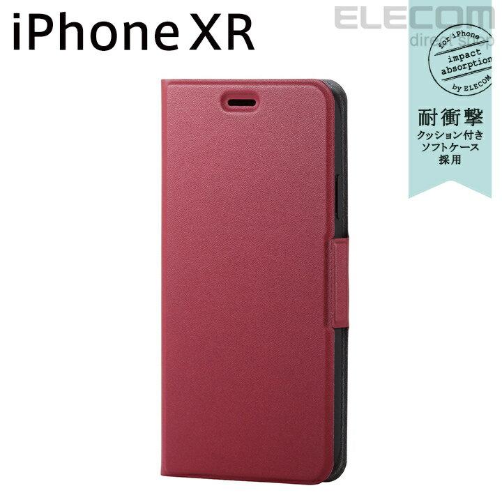 エレコム iPhone XR ケース 手帳型 手帳 UltraSlim スリムソフトレザーカバー 磁石付き レッド PM-A18CPLFURD