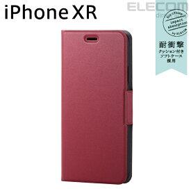 エレコム iPhone XR ケース 手帳型 手帳 UltraSlim スリムソフトレザーカバー 磁石付き レッド スマホケース iphoneケース PM-A18CPLFURD