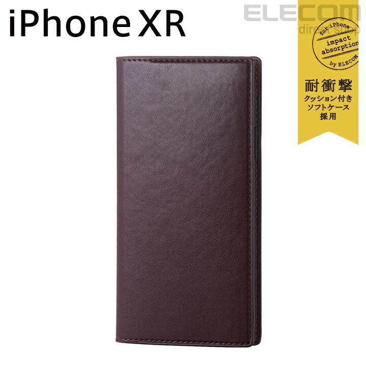 エレコム iPhone XR ケース 手帳型 手帳 Vluno イタリアンソフトレザーカバー マッローネブラウン PM-A18CPLFYILBR