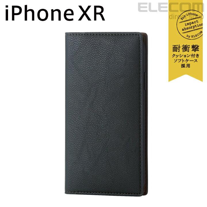 エレコム iPhone XR ケース 手帳型 手帳 Vluno イタリアンソフトレザーカバー ヴェルディグリーン PM-A18CPLFYILGN