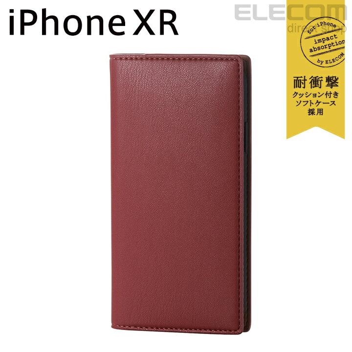 エレコム iPhone XR ケース 手帳型 手帳 Vluno イタリアンソフトレザーカバー ロッソレッド PM-A18CPLFYILRD
