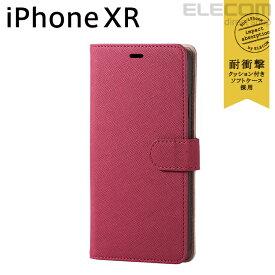 エレコム iPhone XR ケース 手帳型 手帳 Vluno サフィアーノ調ソフトレザーカバー スナップ付き ピンク スマホケース iphoneケース PM-A18CPLFYSPN