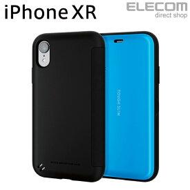 エレコム iPhone XR ケース 耐衝撃 衝撃吸収 TOUGH SLIM フラップ付き ブルー スマホケース iphoneケース PM-A18CTSSBU