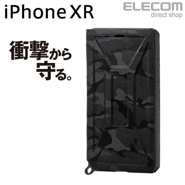 エレコム iPhone XR ケース 耐衝撃 衝撃吸収 ZEROSHOCK フラップ付き カモフラ ブラック PM-A18CZEROFT1