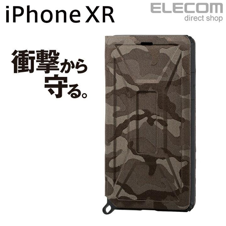 エレコム iPhone XR ケース 耐衝撃 衝撃吸収 ZEROSHOCK フラップ付き カモフラ カーキ PM-A18CZEROFT3