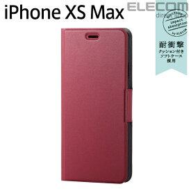エレコム iPhone XS Max ケース 手帳型 UltraSlim スリムソフトレザーカバー 磁石付き レッド スマホケース iphoneケース PM-A18DPLFURD