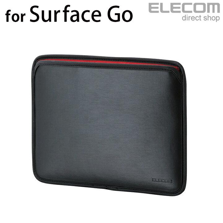 エレコム Surface Go セミハードポーチ スリップインポーチ ソフトレザー 横入れ ブラック TB-MSG18SHPBK