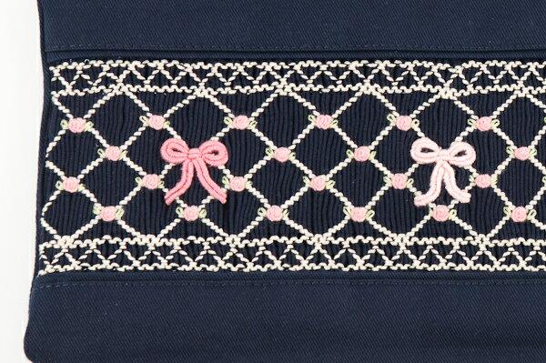 【手刺繍スモッキング】【リボン柄ピンクB】紺色布製:レッスンバッグ【お受験バッグのエレガンテ・ポポ】【あす楽対応商品】【送料無料】