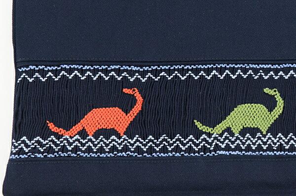 【手刺繍スモッキング】【恐竜】紺色布製:レッスンバッグ Lサイズ【お受験バッグのエレガンテ・ポポ】【あす楽対応商品】【送料無料】