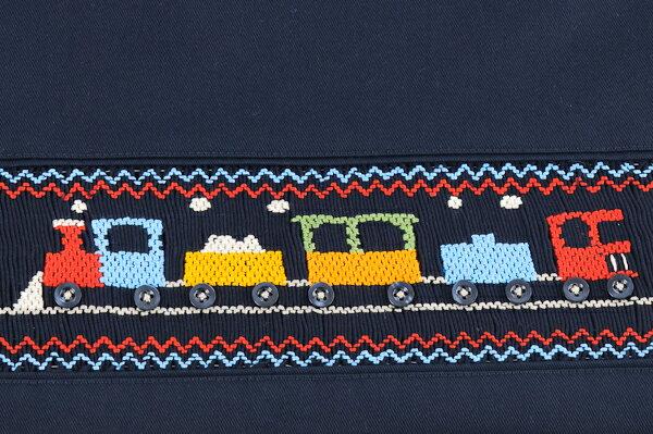 【手刺繍スモッキング】【汽車】紺色布製:レッスンバッグ【お受験バッグのエレガンテ・ポポ】【あす楽対応商品】【送料無料】