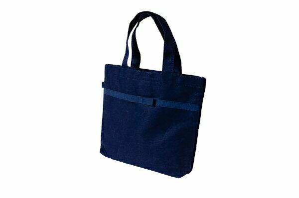 幼稚園受験の絵本バッグに最適サイズリボン付き 紺色布製レッスンバッグ【小】【お受験バッグのエレガンテ・ポポ】【あす楽対応商品】【送料無料】